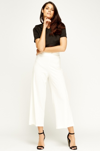 Flam Mode Off White Wide Leg Trousers