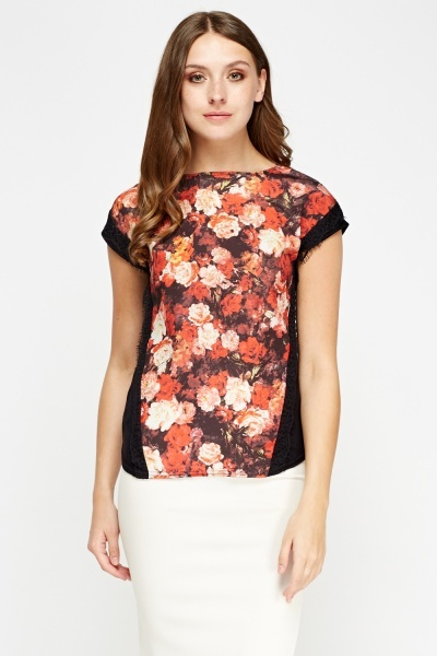 Floral Print Front Contrast Top