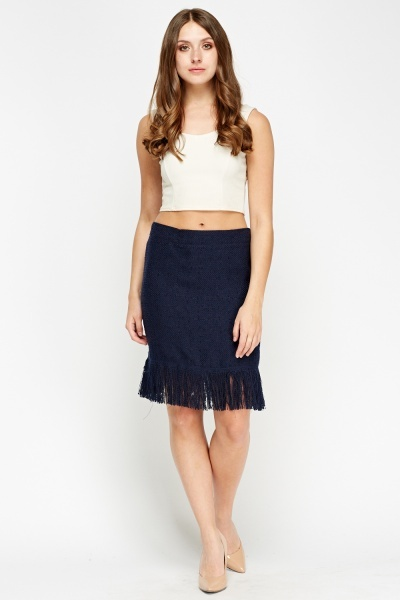 Fringed Hem Bobble Knit Skirt