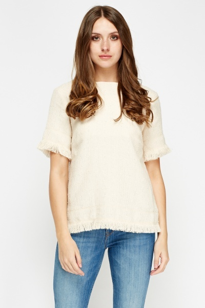 Fringed Hem Bobble Knit Top