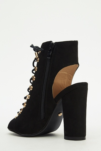 Ideal Block Heel Lace Up Heels