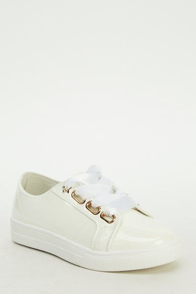 Ideal PVC Ribbon Lace Up Trainers