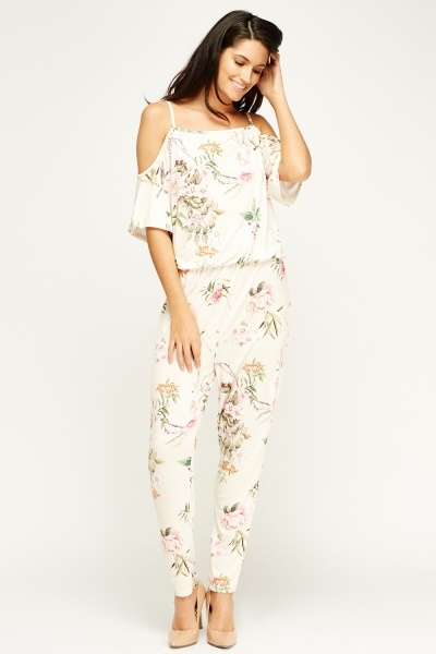 Kimi And Co Floral Cold Shoulder Jumpsuit