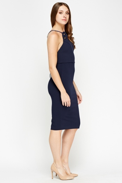 Navy Detailed Bodycon Dress