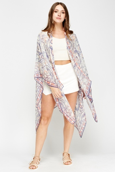 Paisley Printed Contrast Beach Cover Up