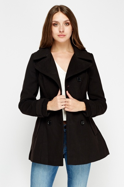 Pleated Back Double Breasted Coat