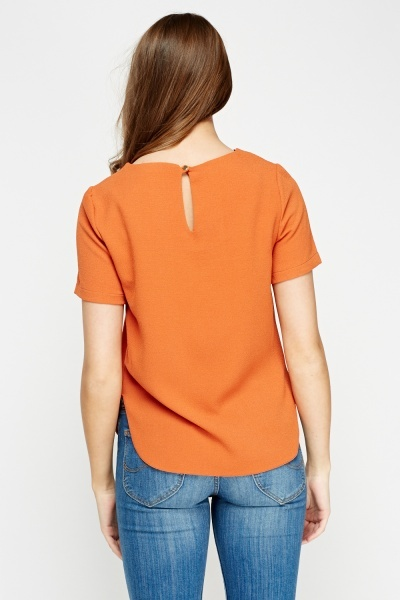 Round Hem Textured Top