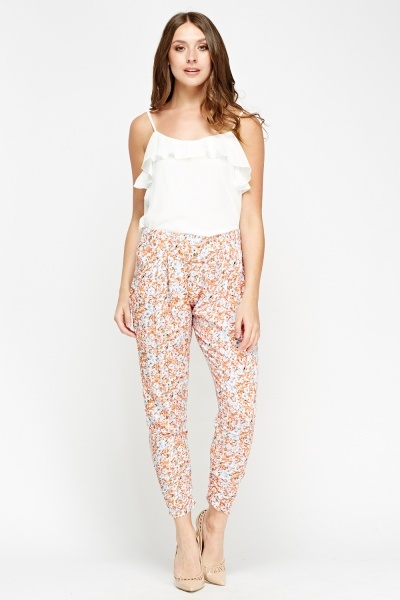 Ruched Leg Floral Trousers