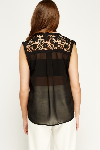 Sweewe Crochet Back Black Top