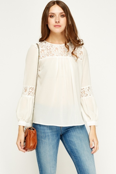 Sweewe Mesh Insert Long Sleeve Blouse
