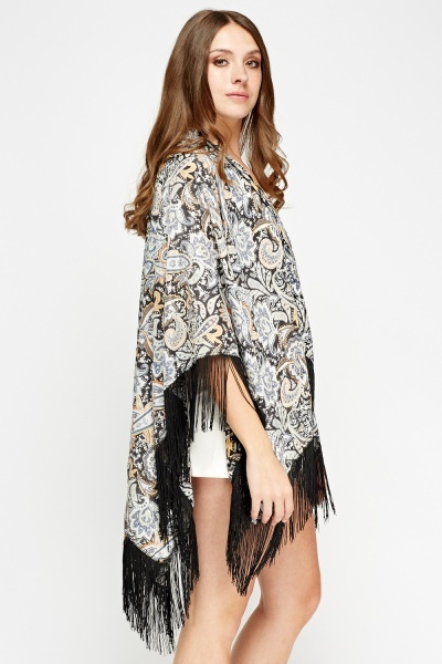 Tassel Trim Printed Beach Cover Up