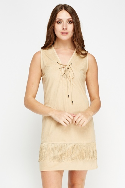 Tassel Trim Sleeveless Shift Dress