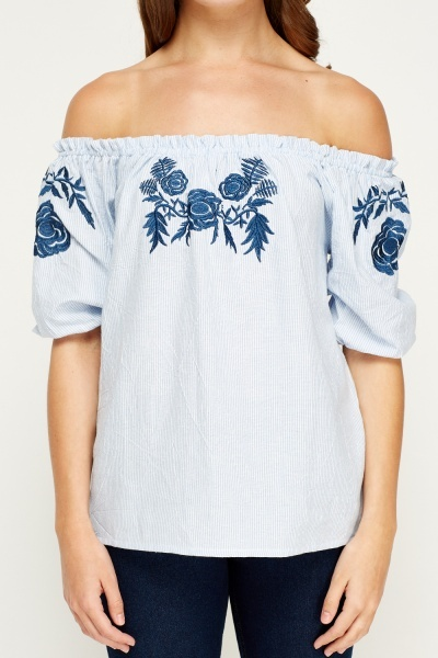 Tenki Blue Embroidered Off Shoulder Top