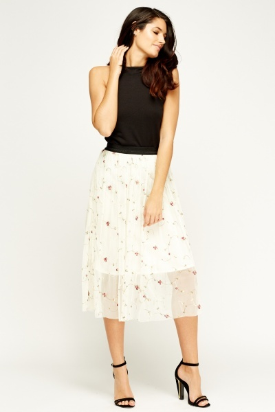 Tenki Embroidered Mesh Midi Skirt