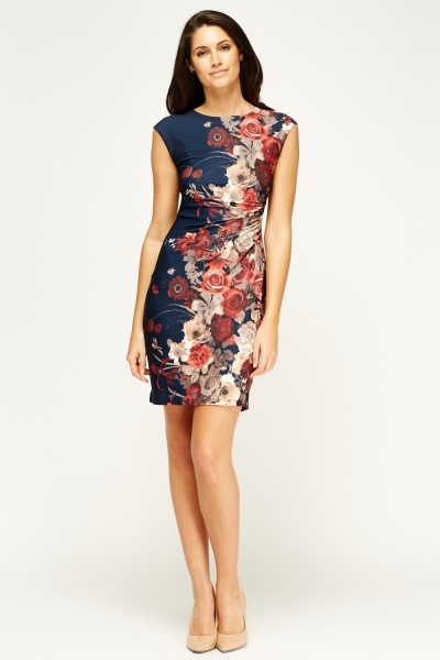 Tenki Ruched Side Floral Dress