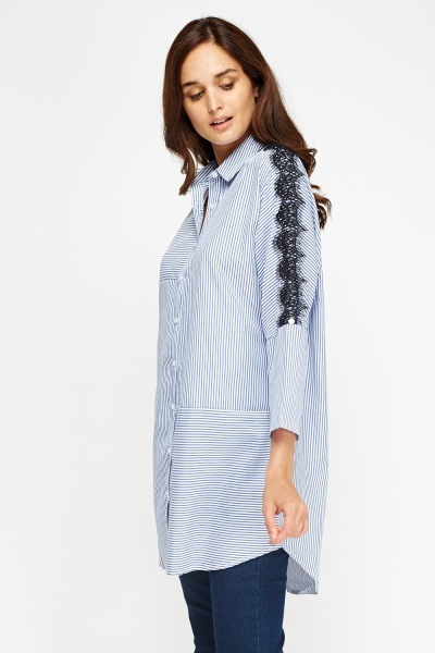 V.Code Lace Shoulder Dip Hem Shirt