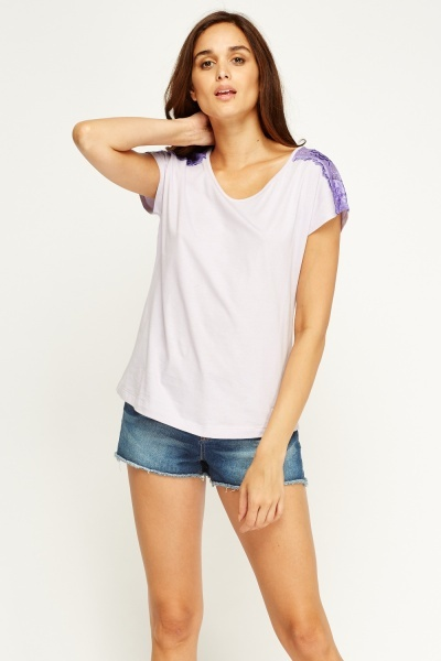 Lace Insert Casual Top