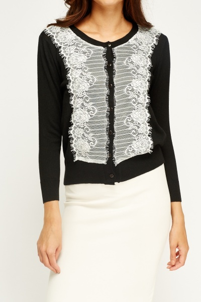 Lace Overlay Knitted Cardigan