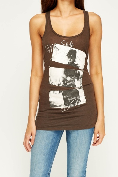 Printed Front Tank Top