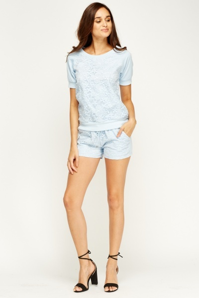 Set Of 2 Mesh Overlay Top And Shorts