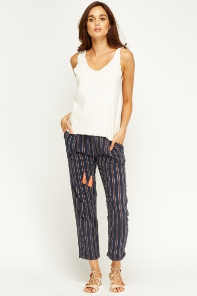 Straight Leg Stripe Trousers