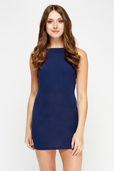 Detailed Back Navy Bodycon Dress