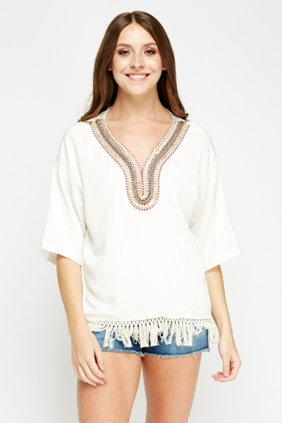 Embroidered Neck Tassel Top