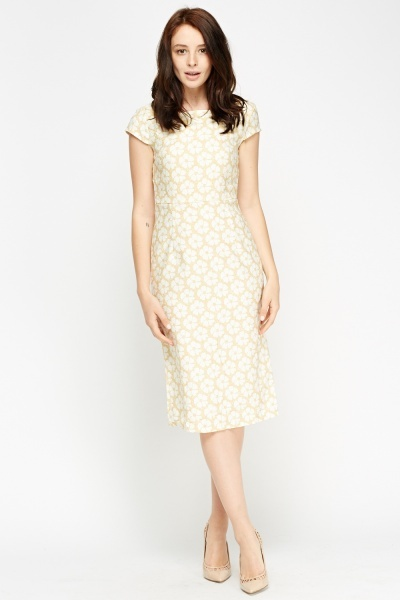 Flower Print Cap Sleeve Dress