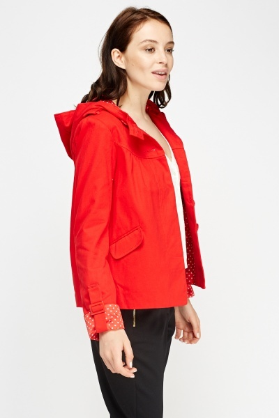 Red Hooded Casual Jacket