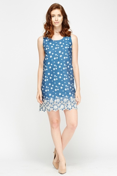 Flower Stitched Sleeveless Dress