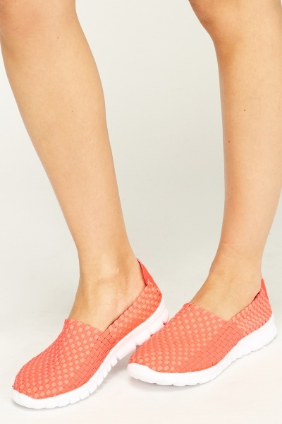 Basket Weave Slip On Trainers
