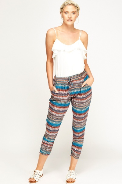 Aztec Print Cropped Trousers