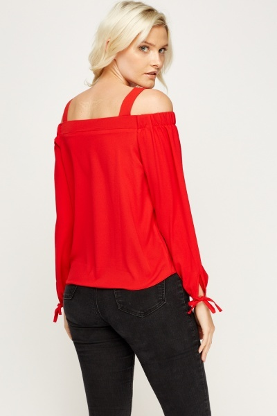 Cold Shoulder Red Top