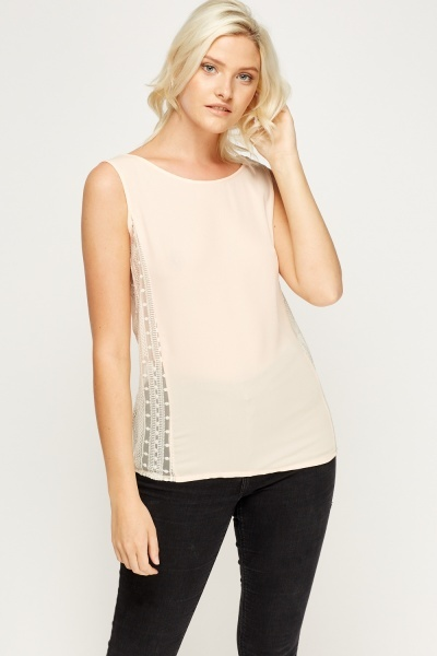 Insert Side Mesh Casual Top