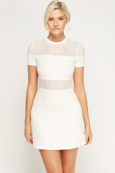 Mesh Insert White Dress