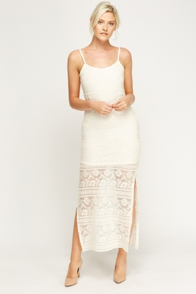 Mesh Overlay Cream Maxi Dress