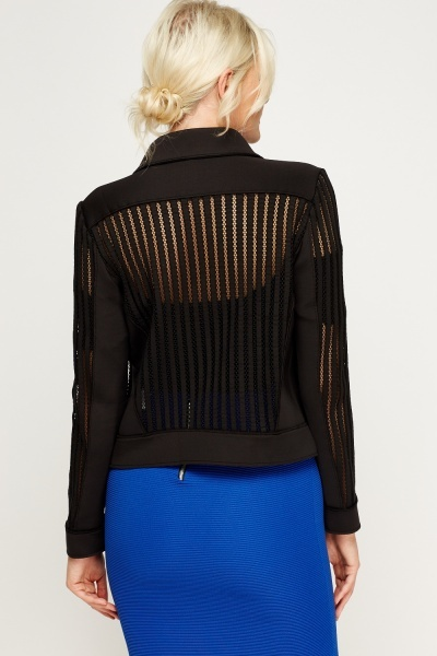 Striped Mesh Scuba Jacket