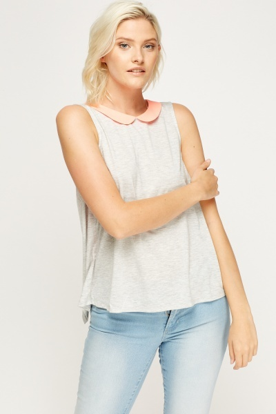 Two Tone Collar Tank Top