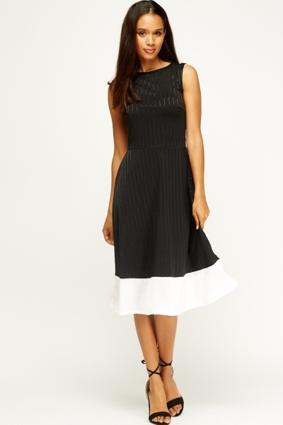 Contrast Hem Skater Dress
