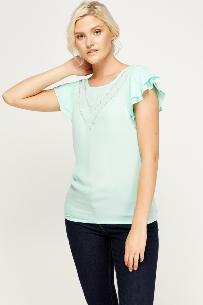 Flared  Sleeve Encrusted Front Top