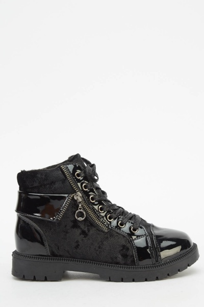 Contrast Lace Up Black Boots