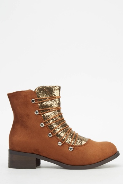 Glitter Front Panel Suedette Boots