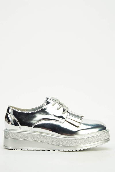 Holographic Contrast Platform Shoes