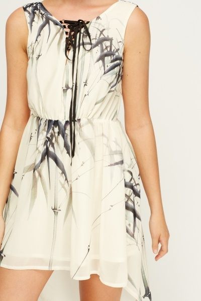 Cream Printed Dip Hem Dress