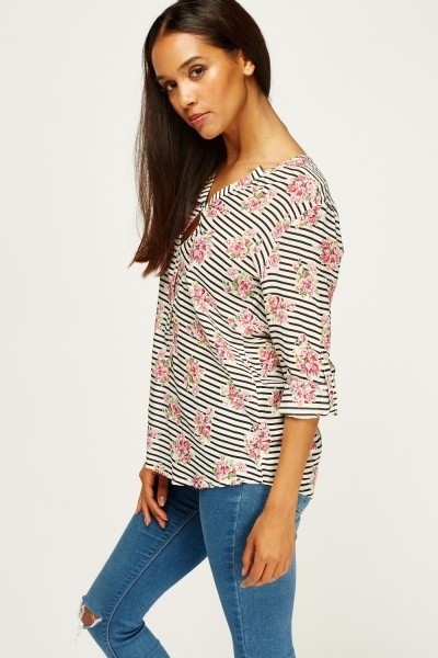 Mixed Print Button Up Neck Top