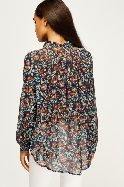 Mixed Print Tie Up Neck Blouse