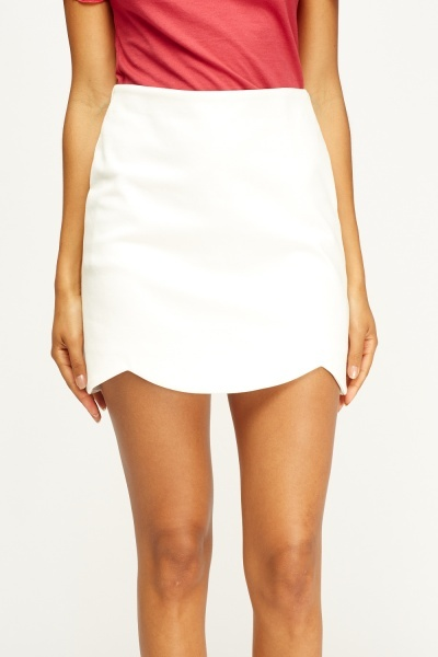 Off White Scallop Trim Skirt
