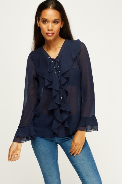 Tie Up Neck Frilled Blouse