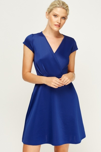 Wrap Cap Sleeve Skater Dress