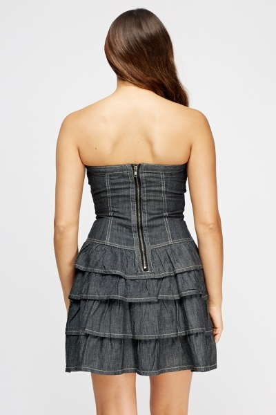 Charcoal Bandeau Flared Mini Dress